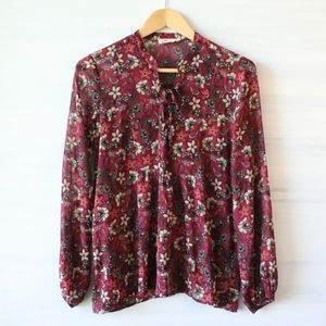 Hollister Sheer Floral Tie-Neck Peasant Top